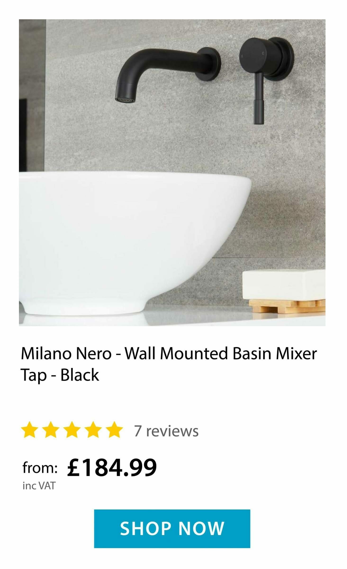 Milano Nero - Wall Mounted Tap